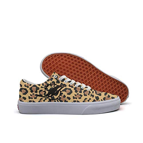 Women Classic White Canvas Jogging Canvas Lace Up Sneakers Animal Leopard Print Skin Snakeskin Shoes