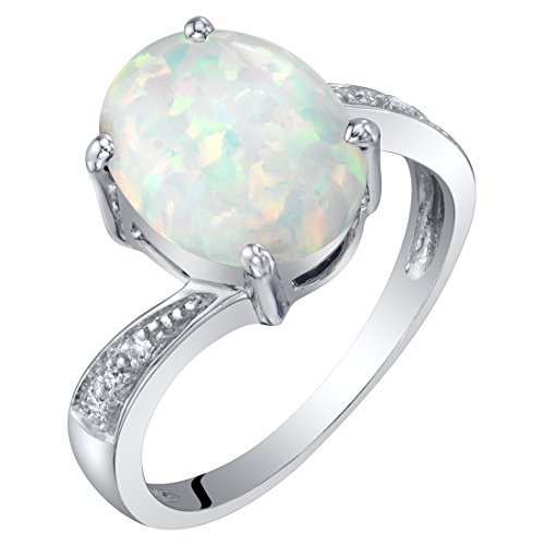 Matrix Opal Ring - 14K Gold Created Opal and Diamond Solitaire Ring 1.25 Carats Oval Shape Size 6