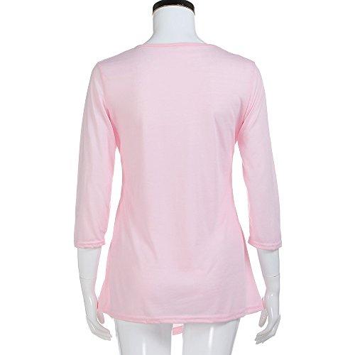 Chemisier Lonshell Chemise Bouton Rose de Tunique de Shirt T Garniture de Femme de BOqFw5