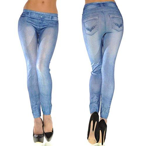 Jeans Skinny Leggings pantalons lgant femmes en stretch Cadrage CRAVOG Bleu pied aXBPO