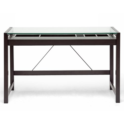 Baxton Studio Idabel Dark Brown Wood Modern Desk with Glass Top