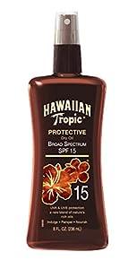 Hawaiian Tropic Sunscreen Protective Tanning Dry Oil Broad Spectrum Sun Care Sunscreen Spray - SPF 15, 8 Ounce