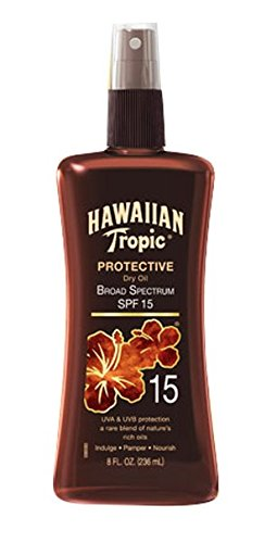 - Hawaiian Tropic Sunscreen Protective Tanning Dry Oil Broad Spectrum Sun Care Sunscreen Spray - SPF 15, 8 Ounce