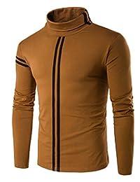 Nidicus Mens Doubel Stripes Turtle Neck Layer Long Sleeve Basic Shirt
