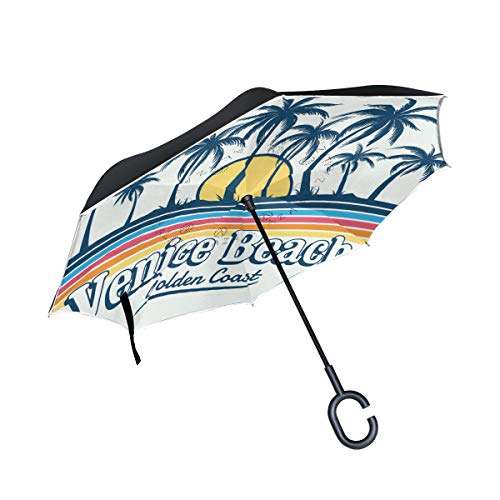 (PNGLLD Venice Beach Palm Trees Reverse Folding Umbrella Double Layer Inverted Umbrella with C-Shaped Handle UV Protection Windproof Umbrella for Car)