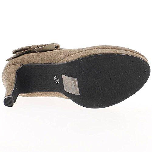 Heel Stiefel niedrig Taupe faux Wildleder, 10,5 cm und Plattform