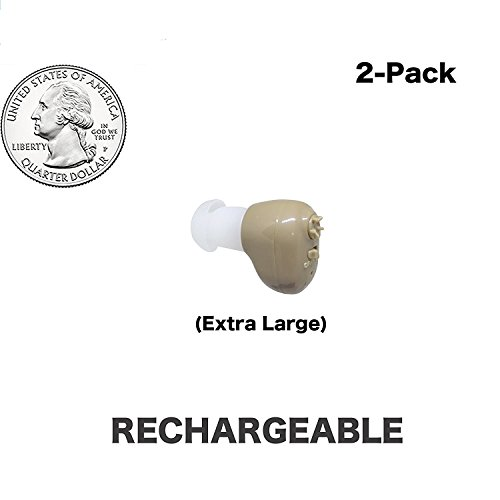 Large Quarter Sized ,Beige Color, 2-Pack, In The Canal (ITC), New Digital Hearing Ear Amplifier Kit By EASYUSLIFE , Rechargeable and Interchangeable , Adjustable Control , Suitable For Men and Women by EASYUSLIFE (Image #9)