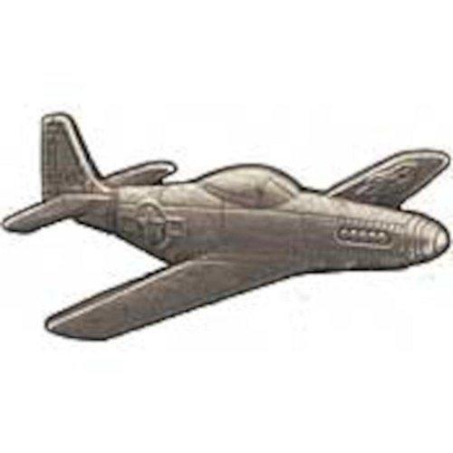 """P-51 Mustang Airplane Pin Pewter 1 1/2"""""""
