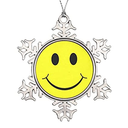 Amazon.com: Happy Smiley Face Graphic Snowflake Pewter Christmas ...