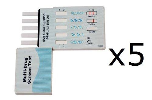 10 Panel Dip Drug Testing Kit, Test for 10 Different Drugs (Marijuana, Cocaine, Methamphetamine, Amphetamine, Benzodiazepine, Opiates, Barbiturates, Methadone, Phencyclidine PCP, Tricyclic Antidepressants) 5-Pack