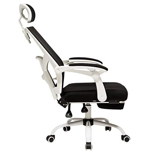 HJGBL Computer Game Chair Swivel Chair Gaming Office Work Desk, Ergonomic Posture Chair with Footrest, Flexible Neck Support, with Wheels and Arms PU Leather Padding Desk Chair (Color : White)