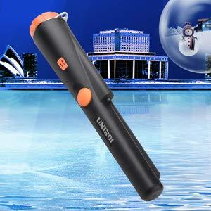 UNIROI Detector de Metales Pinpointer con Bater/ía de 9V IP65 Resistente al Agua Funda de Cintur/ón y Cable Colgante Retr/áctil Buscador de Tesoro Potable con Indicador LED Sonido y Vibrci/ón UD002