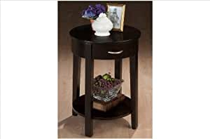 Jofran Round Chair Side Table with Drawer and Shelf