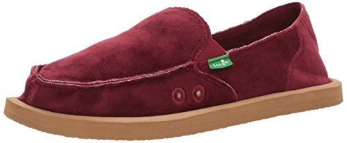Sanuk Womens Donna Velvet Slip-On Loafer Puma Red