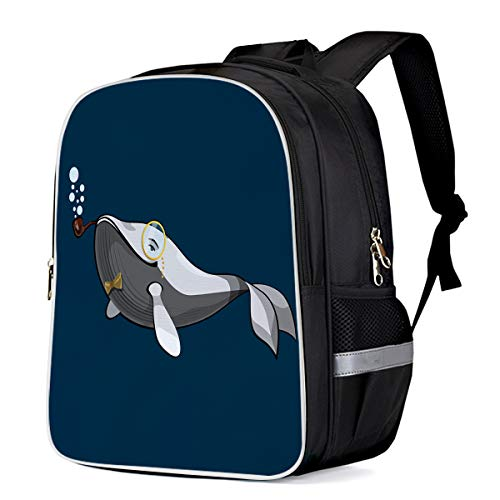 Fashion Elementary Student School Bags- Gentleman Whale with glasses and Smoking Cigarette - Durable School Backpacks Outdoor Daypack Travel Packback for Kids Boys Girls