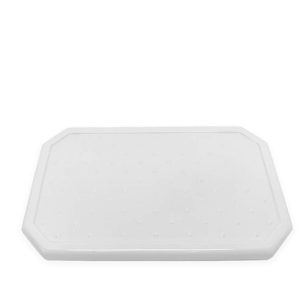 Questech Geo Large Vanity Tray Organizer | Eyeglass Tray, Jewlery Dish, Bathroom Decorative Tray (Polished White)