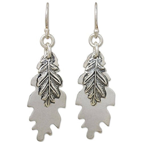 NOVICA .925 Sterling Silver Dangle Earrings 'Oak Leaf Shadow' ()