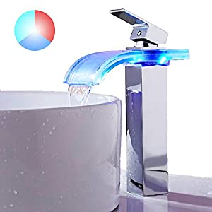 TAPCET Kitchen Faucet, LED Waterfall Kitchen Sink Faucet, 3 Colors Changing  Tap Temperature Control Light Mixer Faucet For Bathroom/Kitchen/Washroom