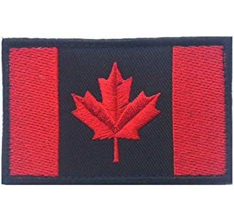 Canadiense Bandera, Canadá hoja de arce 2 x 3 militares parche/parche de moral (negro con rojo): Amazon.es: Deportes y aire libre