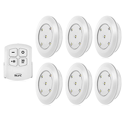 INLIFE Under Cabinet Lighting, LED Wireless Battery Operated 6 Pack ...