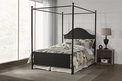 Hillsdale Furniture Canopy Metal Bed in Textured Black Finis
