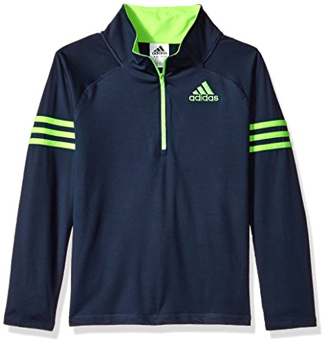adidas Big Boys' Quarter Zip Pullover, Navy/Green, S(8) (Zip Pullover Adidas Quarter)