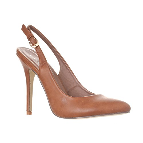 Shoes Brown Slingbacks (Riverberry Women's Lucy Pointed-Toe, Sling Back Pump Stiletto Heels, Brown PU, 10)