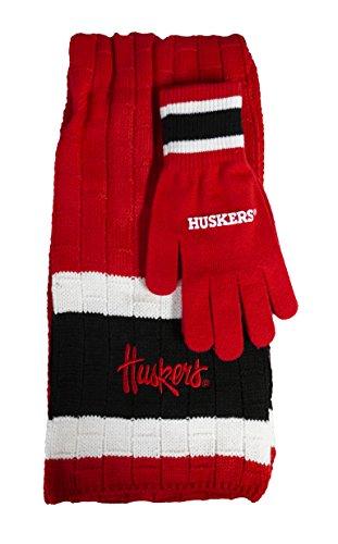 Littlearth NCAA Nebraska Cornhuskers Team Color Knit Scarf and Glove Gift Set ()