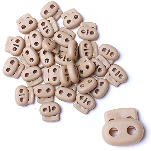 AXEN 30PCS Plastic Cord Lock End Toggle Double Hole Spring Stopper Fastener Toggles for Shoelaces, Drawstrings, Paracord, Bags, Clothing and More, Khaki