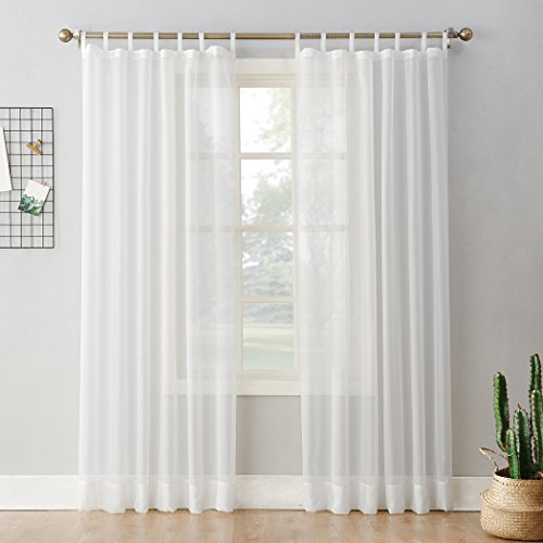 No. 918 Emily Collection Sheer Voile Tab Top Curtain Panel, 59