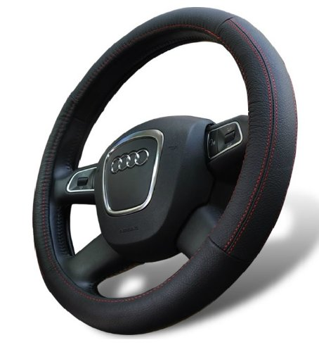 - D8 Genuine Leather Steering Wheel Cover for Land Rover Defender Discovery Freelander LR2 LR3 LR4 Range Rover Sport Evoque