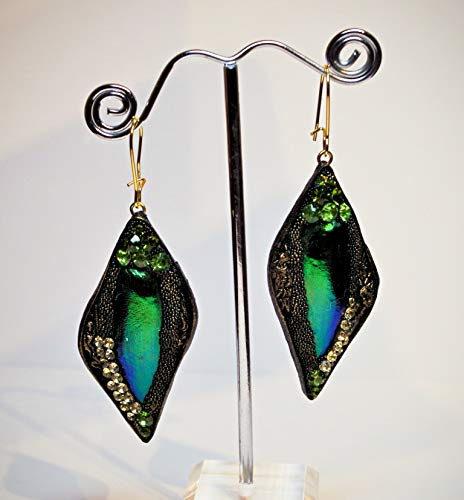 6f1c4a173e615 Amazon.com: Real leather dangle earrings. Swarovski Rhinestone ...
