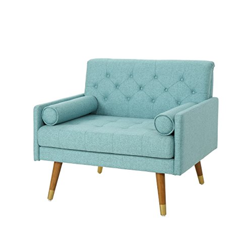 Christopher Knight Home Nour Fabric Mid-Century Modern Club Chair, Blue, Natural