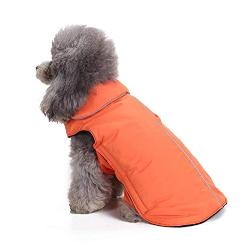 - Scheppend Dog Coats Winter Puppy Warm Fleece Jacket Clothes Windproof Doggy Cold Weather Vest Harness Flannel Magic Tape Dog Sweater Pet Apparel Sweatshirt (Extra Large, Orange)