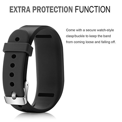 iBREK Silicone Replacement Bands with Metal Secure Watch Clasp for Garmin Vivofit 3 JR(No Tracker)
