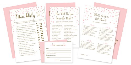4 Pack Bridal Shower Games 200 CARDS | More Likely To game (50 CARDS)| How Well Do You Know The Bride game (50 CARDS)| What's On Your Cell Phone (50)| Advice and Wishes - Bridal Shower Activities