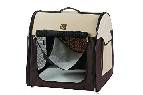 One for Pets 2109-Cream Brown-Single Fabric Portable Kennel, Single, Cream Brown