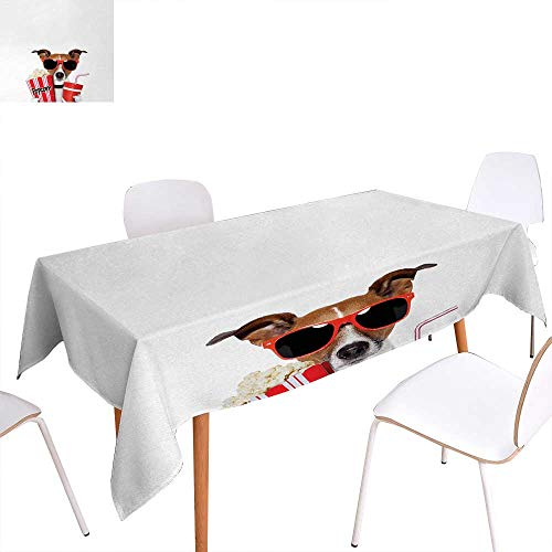Warm Family Movie Theater Patterned Tablecloth Funny Dog Wearing Sunglasses Watching a Movie with Popcorn and Soda Print Dust-Proof Oblong Tablecloth 60
