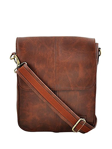 Yelloe Designs Tan Synthetic Leather Messenger Bag in executive look and comfortable handle for Women and Men - Executive Sling