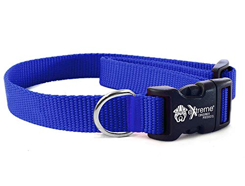 (Extreme Consumer Products Rugged Nylon Dog Collar Blue - The Heavy Duty Adjustable Dog Collar - 3/4