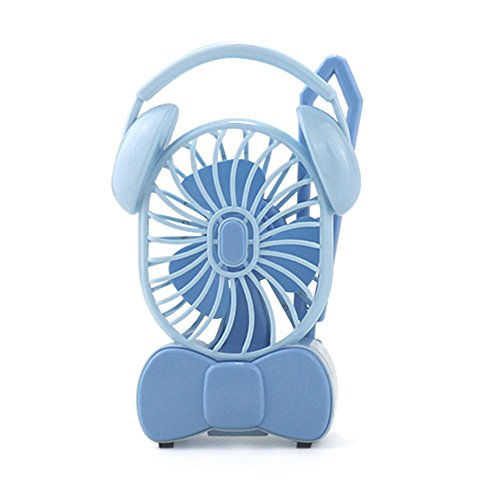 Handheld Mini Fan, Headphone Style Folding Fan USB And Battery Powered Portable Personal Cooling Fan, Outdoor Travel Sports Picnic ()