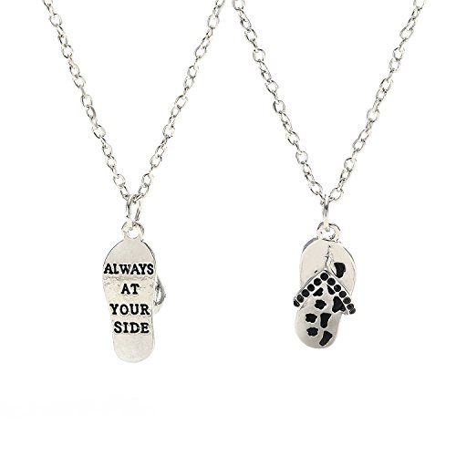 (MayLove Always at Your Side Pendant Necklace Pet Paw Prints Flip Flop Slippers Sandal Rhinestone Jewelry)