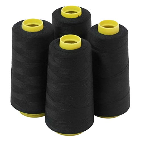 4 Large Cones (3000 Yards Each) of Polyester Threads for Sewing Quilting Serger Black Color from ThreadNanny