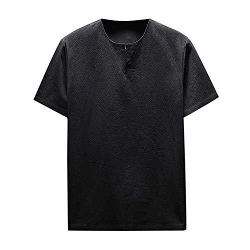 (ANJUNIE Summer Men Tank Tops,Short Sleeve T-Shirt Comfy Linen Blouse Soft Solid Top (Black,XXL))