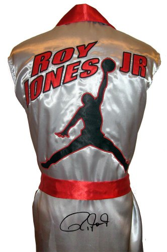 Roy Jones Jr Signed Silver Jordan Logo Robe - Autographed Boxing Robes and Trunks