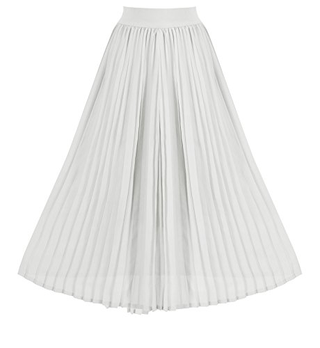 Howriis Women's Summer Chiffon Pleated A-line Midi Skirt Dress (X-Large, ()