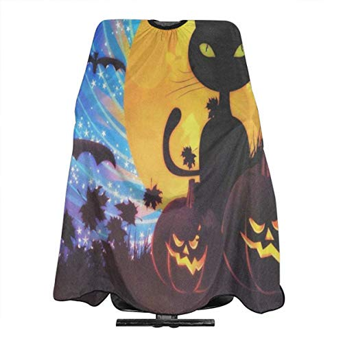 Haircut Cape Halloween Party With Cat Creative Hairdressing Apron Polyester Hair Cutting Cape for Adults]()