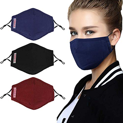 Anti Pollution Mask Breathable Washable Cotton Dust-Proof Mouth Masks with Replaceable Filter (One Mask + 2 Filters) Women-Men-Black (Black)