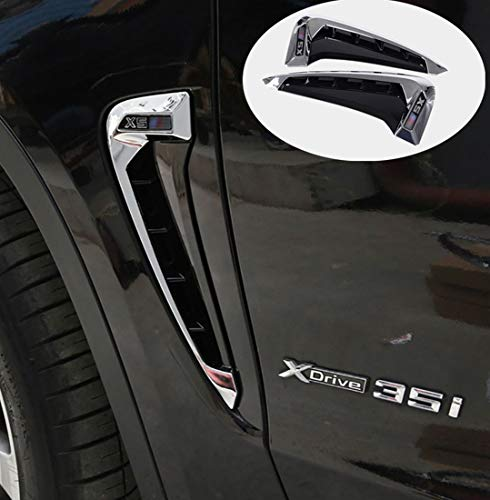 Car styling ABS Chrome Side Wing Fender Air Guide Vents Frame Trim Accessories For BMW X5 F15 2014 2015 2016 2017 (Silver) ()