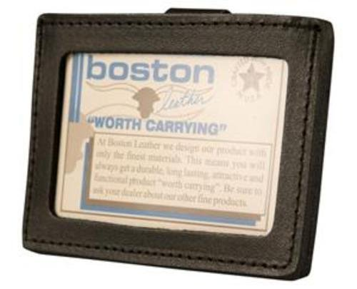 Boston Leather Horizontal ID Holder w Belt Clip